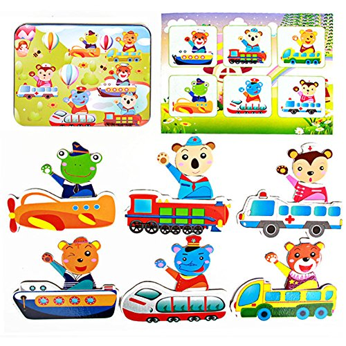 [Children Kids Box Wooden Magnetic Jigsaw Puzzle Intellectual Educational Toys (Driver)] (Cute Scarecrow Costumes)