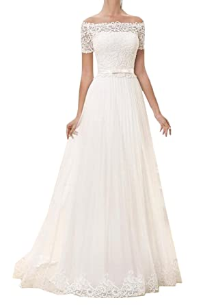 Gorgeous Bridal Garden Casual Bridal Gown Off The Shoulder Lace
