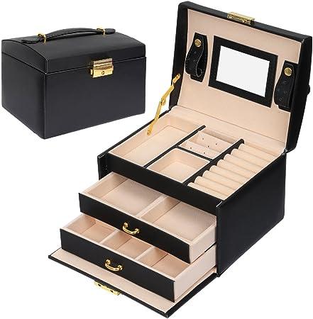 Meerveil Caja Joyero, Joyeros Mujer Organizador Caja para Joyerías con Espejo y 3 Cajones Cuero PU 17.5 * 14 * 13cm: Amazon.es: Juguetes y juegos