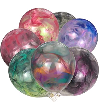 DANIDEER DIY balloons 24 PCS latex balloons plus 12 different water colors  create BY YOURSELF a tie dye and marble multicolor balloons for birthdays,