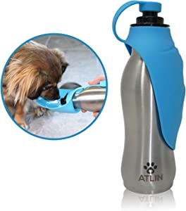 ATLIN Dog Water Bottle – 304 Stainless Steel and Silicone…