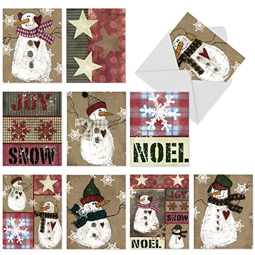 10 Assorted 'Snow Folks' Blank All Occasion Cards with Envelopes (4 x 5.12 Inch), Boxed Holiday Cards Featuring Whimsical Snowmen Dressed in Folksy Winter Clothing, Stationery for Holidays M6040]()