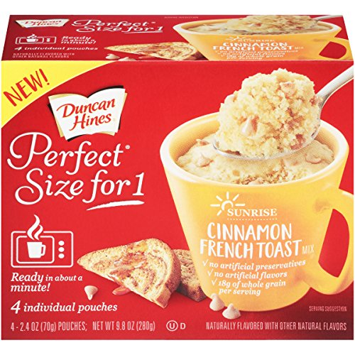 Duncan Hines Perfect Size for 1 Breakfast Muffin & Cake Mix, Ready in About a Minute, Cinnamon French Toast, 4 Individual Pouches