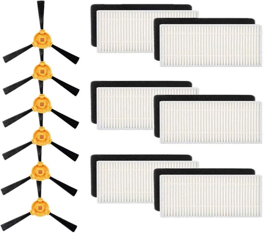 THEREYA KAT Replacement Accessory Kit Filter Main Brush Side Brush for Ecovacs DEEBOT N79S N79 Robotic Vacuum Cleaner - Filters+ Side Brushes (Pack of 12)