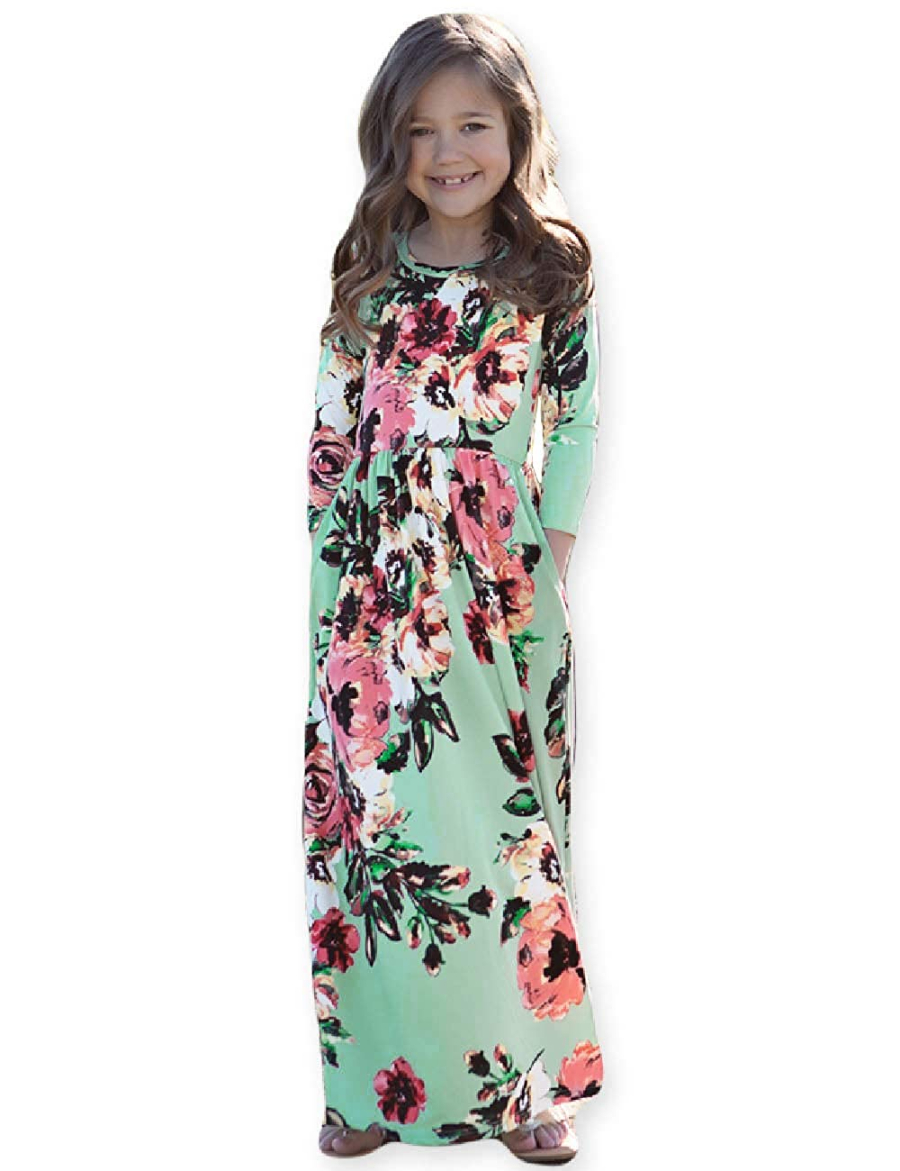 b22f47241d6c Amazon.com: Girls Maxi Dress, Kids Floral Casual T-Shirt 3/4 Sleeve Dresses  with Pocket for Girls 6-12T: Clothing