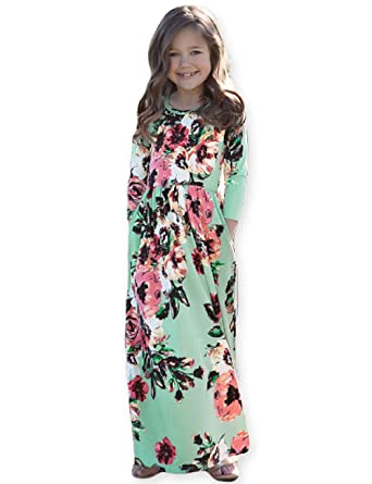 2145080163f Girls Floral Maxi Dress Kids Fall Casual 3 4 Sleeve T-Shirt Dresses Pocket