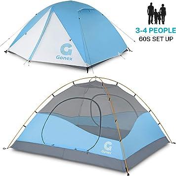 Gonex Tienda de Campaña 3-4 Personas, Tienda de Camping Ligero Impermeable Anti Viento, Tienda Domo para Senderismo Excursionismo Trekking Mochilero Montañismo Acampar Escalada Viaje, Fácil de Montar: Amazon.es: Deportes y aire libre