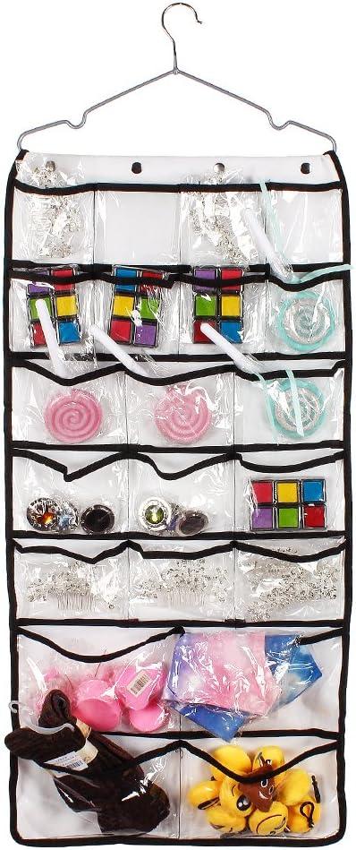 Dual-Side 42/bolsillo para colgar en puerta Joyero organizador con gancho para el hogar y viajes