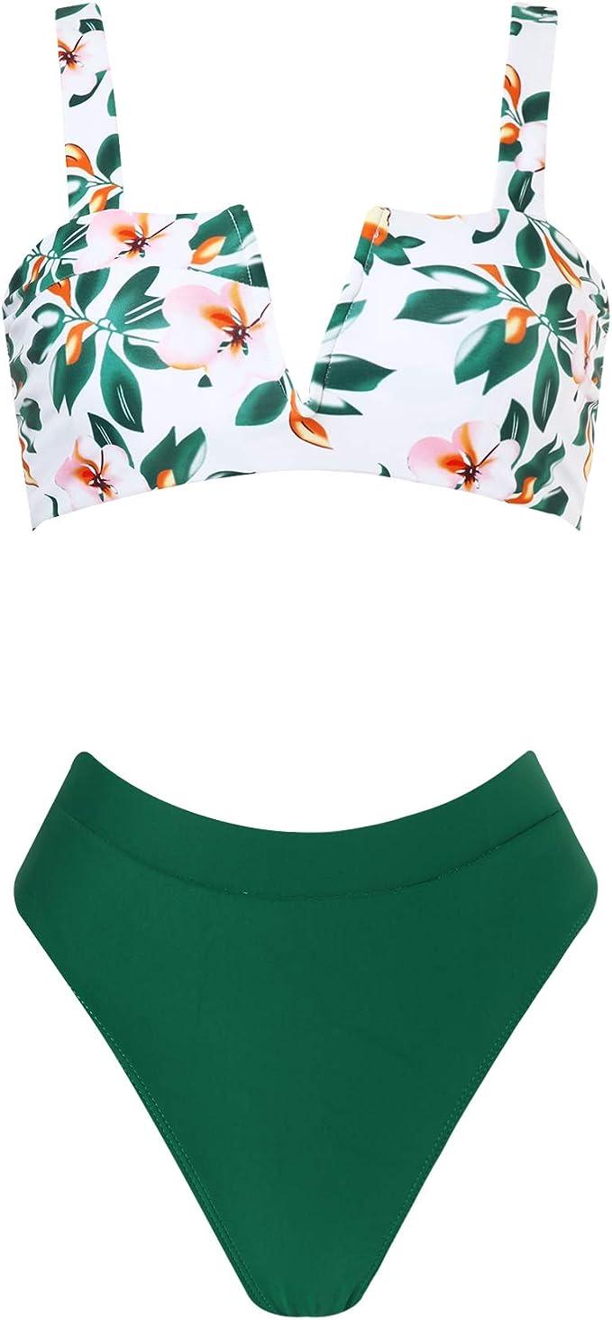Amazon.com: MOOSLOVER Traje de baño de cintura alta con ...