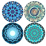 Funsmore Absorbent Stone Coasters for Drinks Set of 4 with Cork Base Mandala Drink Coaster Mats for Kinds of Mugs and Cups