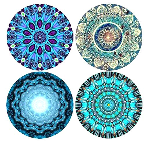 (Funsmore Absorbent Stone Coasters for Drinks Set of 4 with Cork Base Mandala Drink Coaster Mats for Kinds of Mugs and Cups)