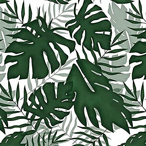 Blue-Gray Drapery Upholstery Fabric 100/% Cotton Duck Tropical Leaves