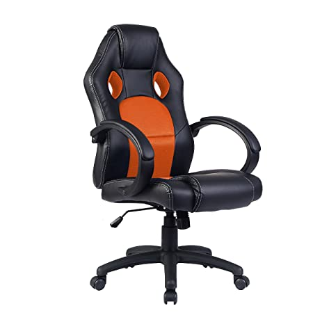 Costway Office Chair Racing Sports Car Seat Gaming Armchair Computer  Reclining Executive Blue/Black/