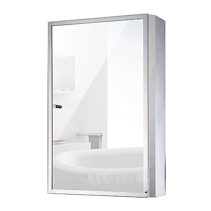 HomCom 24u201d X 16u201d Stainless Steel Bathroom Mirror/Medicine Cabinet