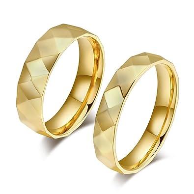 Blisfille 2 Piezas Anillo de Oro de Mujer Amarillo Acero ...
