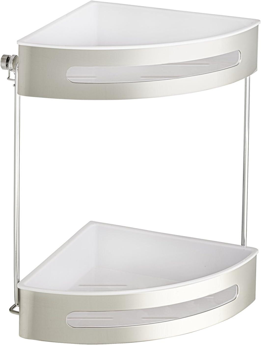 Wenko Rinconera de Acero Inoxidable Premium Plus, 2 repisas Plateado y Blanco 28.5 x 21 x 31 cm: Amazon.es: Hogar