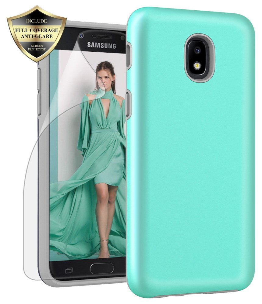Samsung Galaxy J3 2018 Case, J3V 3rd Gen, J3 Star, Express Prime 3,J3 Achieve, Amp Prime 3 Case, Androgate Hybrid Matte Protective Cover Case with Full Coverage TPU Screen Protector,Mint