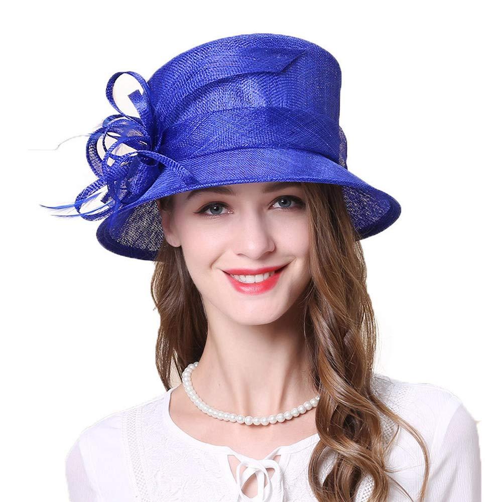 FADVES Royal Sinamay Hat Fascinators Wedding Wide Brim Fedora Church Flower Kentucky Derby Hats Blue