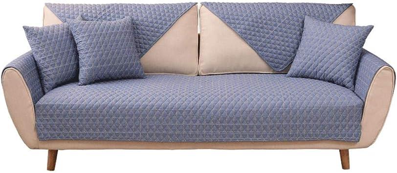 DUANGONGZI Fundas De Sofa Anti Gatos,Azul Four Seasons Universal Plaid Cotton Simple Living Room Sofá Set Plaid Blue/A/70 * 70Cm (1Pcs): Amazon.es: Hogar