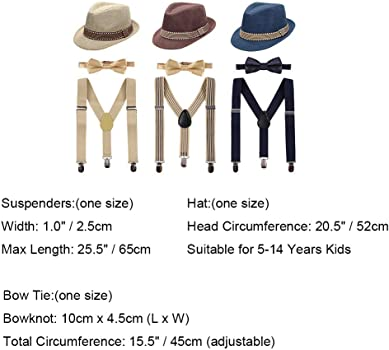Boys Kids 3PCS Suspenders Outfit Set Pre Tied Bow Tie Short Trim Fedora Hat for Party Wedding Girls 5-14T Clothes