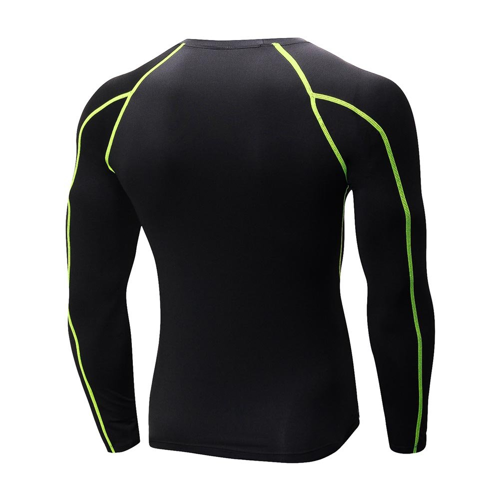 Bornbayb Mens Long-Sleeved Sports Shirts Quick Dry Sports Tops Running Training Tee Workout Activewear