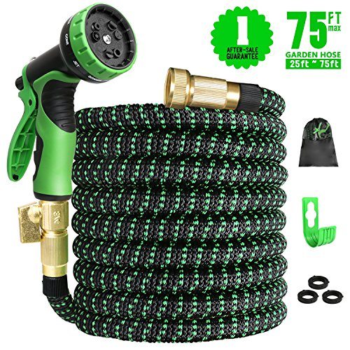 Expandable Garden Hose 75ft Expanding Water Hose, 75′ Flexible Lightweight Gardening Hose with 3/4 Inch Strong Solid Brass Fittings 9 Function Hose Nozzle, Outdoor Yard Cloth Hoses(1 Year Guarantee)