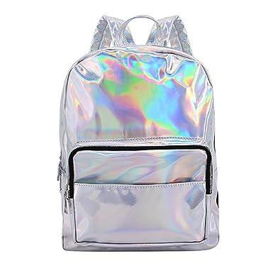 4fd3d482b Orfila Silver Hologram Laser Backpack PU Leather Casual Daypack Fashion School  Shoulder Bag Travel Satchel,