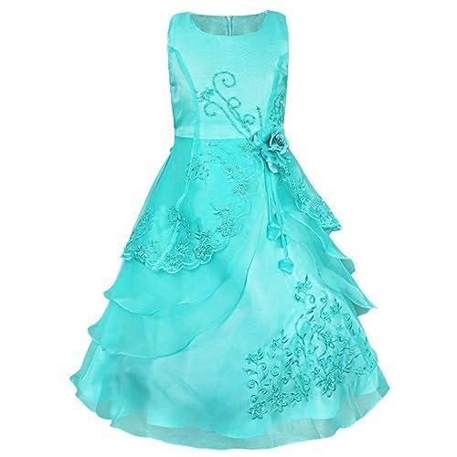 TiaoBug Sleeveless Embroidered Flower Girls Dress Wedding Party Bridesmaid Princess Gown Maxi Dresses