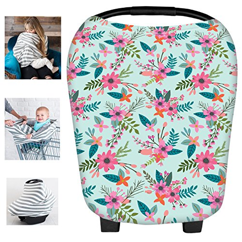 Multi-Use Floral Milk Yarn Nursing Breastfeeding Cover Baby Car Set Cover Canopy Shopping Cart Cover Swaddle Blanket for Infants Newborns Toddlers Shower Gift (Car Cover Floral Seat Toddler)