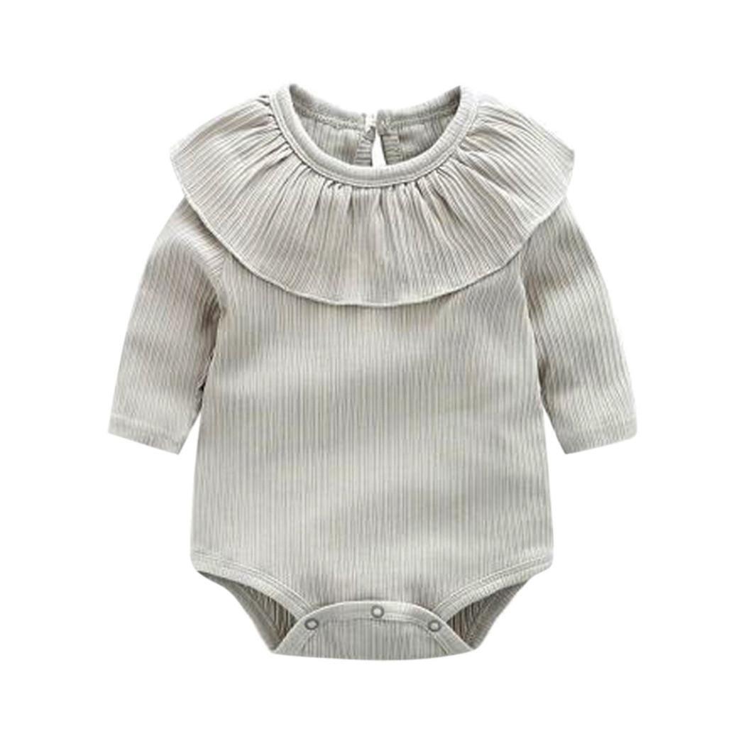 ❤ Neonata Solido Volant Body ❤ Bambina Manica Lunga Pagliaccetto Tuta Ragazze O-Collo Vestiti