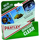 Pratley Quickset Clear - Epoxy - Glass Glue - all Purpose Repair Adhesive Kit for Most Metals, Stone, Ceramic, Cement, Concrete, Slate and Glass - Use for Antique Furniture, Costume Jewelry, Porcelain