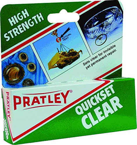 Pratley Quickset - Clear 2 Part Epoxy Glass and Plastic Glue - All Purpose Adhesive Repair Kit For Most Metals, Stone, Ceramic, Cement, Concrete, Slate, Antique Furniture, Costume Jewelry, - Part Two Clear