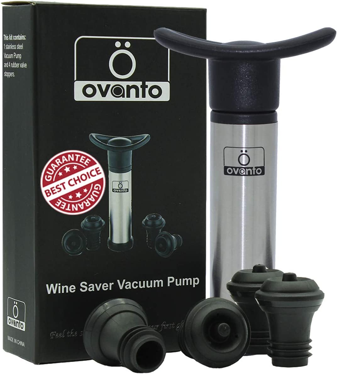 The Original Ovanto Wine Saver Vacuum Pump + 4 Tested Reusable Wine Bottle Stoppers + Wine Ebook – Leakproof Wine Preserver and Wine Stopper - Keeps Your Wine Fresh for Days