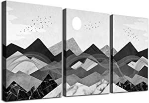 3 piece Framed Canvas Wall Art for Living Room bathroom Wall decor Black and white landscape paintings modern kitchen Bedroom Decoration Abstract geometric mountains pictures Artwork for home walls