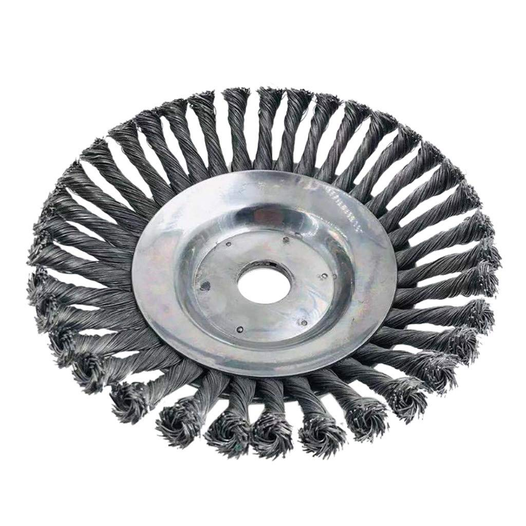 Baulody Wire Wheel Brush, 8'' Diameter Full Twist Knotted Garden Weed Brush Lawn Mower Grass Eater Trimmer Brush Cutter Tools Parts Weeding Brush (Silver)
