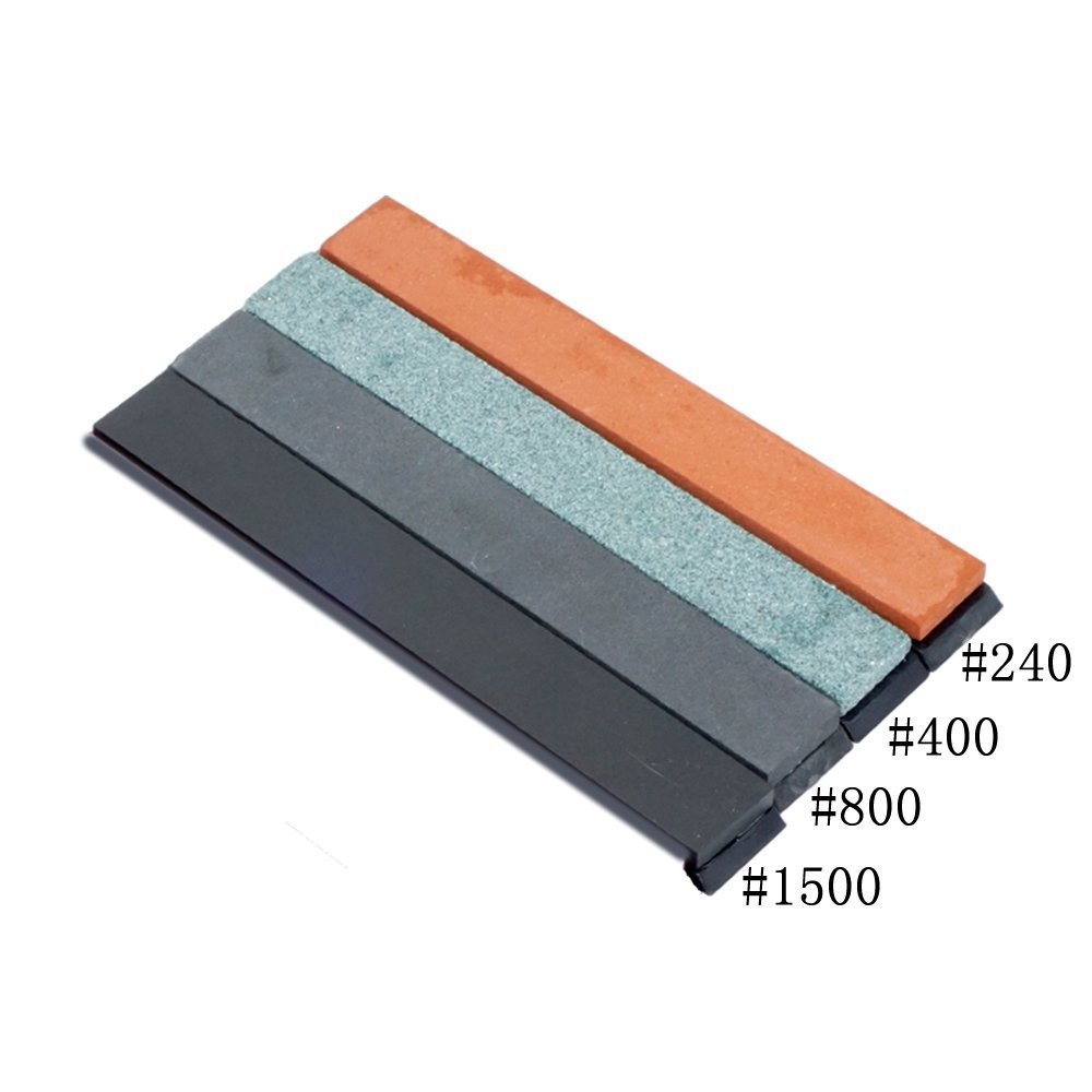4/Set Whetstone Knife Sharpening Stone Oilstone Sharpener With Base - 5.9 x 0.8 x 0.2 inch (#240 #400 #800 #1500) Moumou