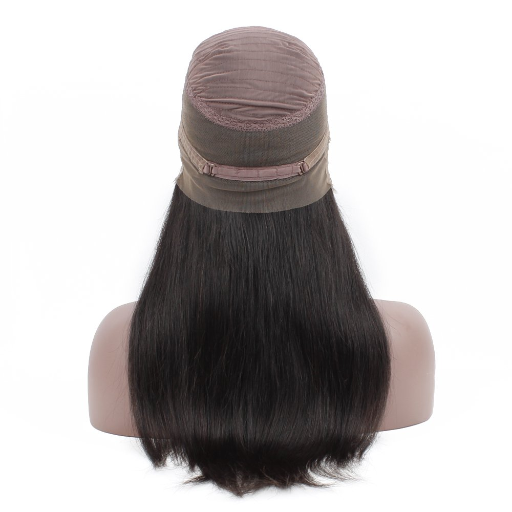 Queen Plus Pre Plucked 360 Lace Frontal Wig 150% Density Silky Straight Virgin Human Hair Natural Hairline with Baby Hair Brazilian Full Lace Band Human Hair Wigs for Black Women (22inch)