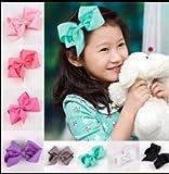 "AKA 8"" Inch Large Crystal Diamante Rhinestone Grosgrain Ribbon Bow Hair Clip Girls"