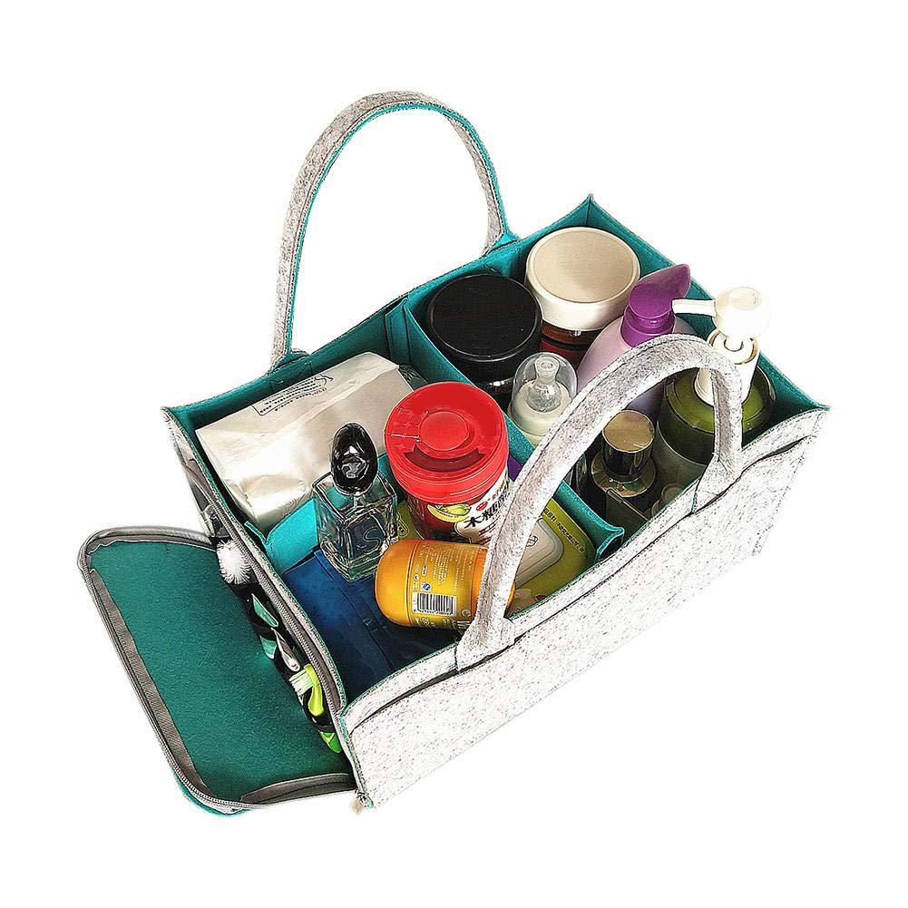 Wickeltasche Kindergarten Lagerplatz Box Tragbare Filzkorb Windeln Organizer Baby Wipes Bag Mutterschaft Handtaschen Wechselbare F/ächer