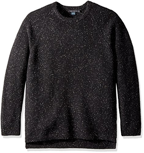 French Connection Men's Oversized Donegal Crewneck Sweater, Black, M