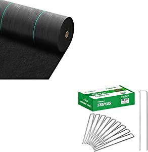 Amagabeli 5.8oz 3ft x 100ft Weed Barrier Landscape Fabric Bundle 8 Inch Galvanized Landscape Staples 200 Pack Garden Stakes Heavy-Duty Sod Pins Bundle