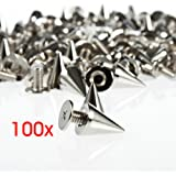 Gleader 100PCS Silver Cone Spikes Screwback Studs for DIY Craft Leathercraft--Perfect for Decoration on Your DIY Bags, Leather Bracelets, Clothes, Shoes, etc