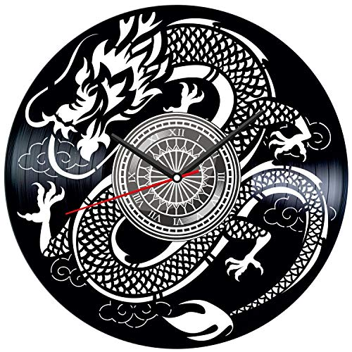 Japanese Dragon Black Vinyl Clock - Vintage Room Kitchen Bedroom Decor - Vinyl Record Gift Idea for Birthday Christmas Hanukkah - Unique Vintage Wall Art - Personalized Home Decoration - 12 Inch -