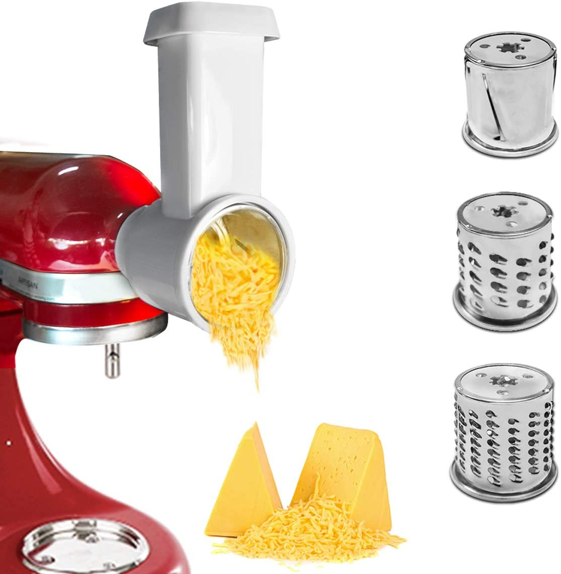Slicer/Shredder Attachment for KitchenAid Stand Mixer,Cheese Grater Attachment,Vegetable Chopper Grater Accessories,Vegetable Sheet Cutter Attachment,Easy to Clean & Use