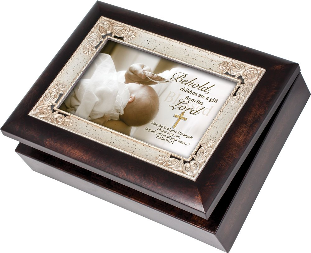 Cottage Garden Behold Children are a Gift Angels Burlwood Jewelry Music Box Plays Amazing Grace