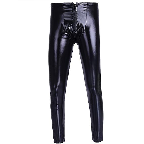 YiZYiF Herren Strumpfhosen Wetlook Glanz Lack-Optik schwarz Leggings Enge Hosen Unterw/äsche Pants