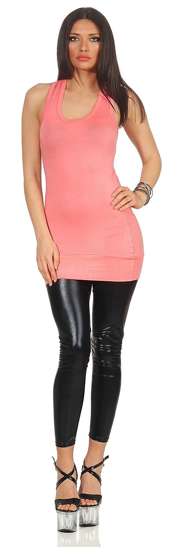 Camiseta sin Mangas para Mujer Jela London Opaco B/ásico Escotado por detr/ás