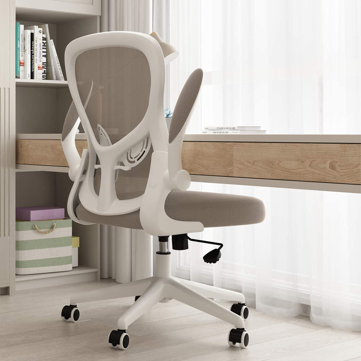 Hbada Office Chair, Ergonomic Desk Chair, Computer Mesh Chair with Lumbar Support and Flip-up Arms, Gray