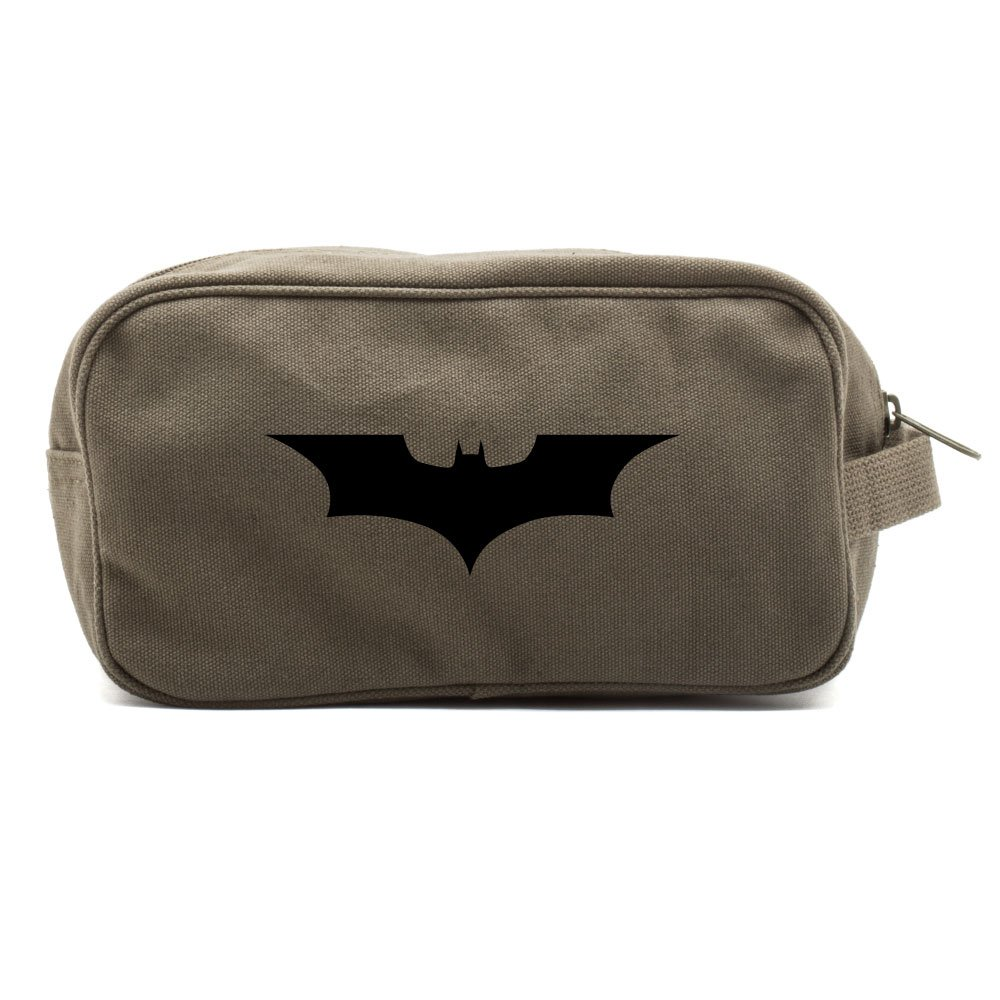 Batman Begins The Dark Knight Canvas Shower Kit Travel Toiletry Bag Case in Olive & Black