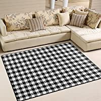 ALAZA Area Rug 7'x5' Black White Geometric Houndstooth Non-Slip Floor Mat Carpet for Living Dining Bedroom